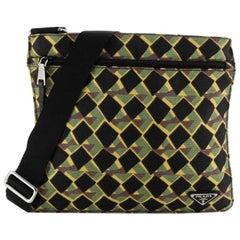 Prada Zip Messenger Bag Printed Tessuto Medium