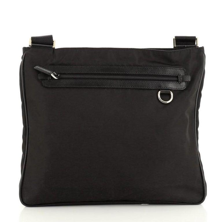 Women's or Men's Prada Zip Top Messenger Bag Tessuto Large For Sale