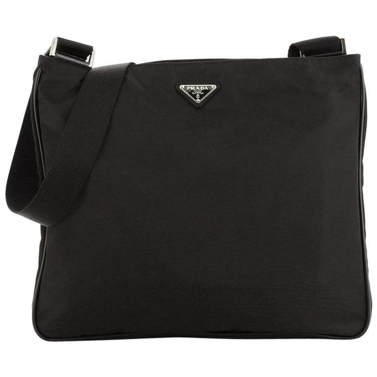 Prada Zip Top Messenger Bag Tessuto Large For Sale