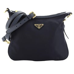 Prada Zip Top Messenger Bag Tessuto with Saffiano Leather Medium