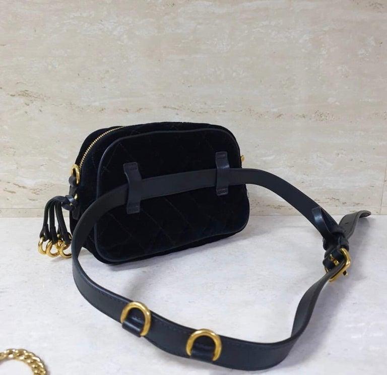 Black PradaCahier Small Velvet Convertible Belt Bag