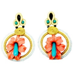 Pradera Kalas Collection Soutache Silver Earrings Aquamarine and Tinted Jade