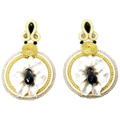 Pradera Kalas Collection Soutache Silver Earrings Fume Quartz and Black Jade