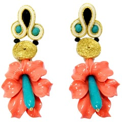 Pradera Kalas Collection Soutache Silver Earrings with Pink and Tourquoise Jade