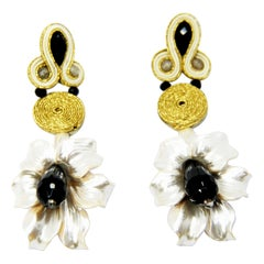 Pradera Kalas Collection Soutache Silver Earrings with Resins and Crystals