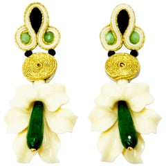 Pradera Kalas Collection Soutache Silver Earrings with Resins and Green Jade