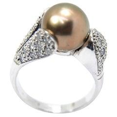 Pradera Tahiti Pearl Cocktail Ring with White Diamonds and 18 Karat White Gold