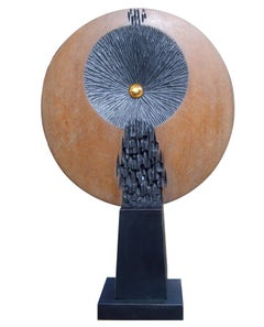 "Nature II : Abstract, Bronze, Wood Sculpture by Indian sculptor ""In Stock"""