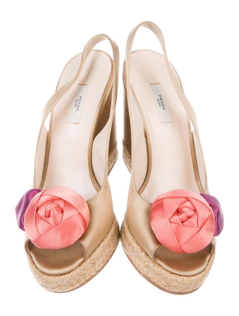 Women's Prado Satin Raso Caramel Wedge Heel Sandals with Floral Flower Trimming For Sale