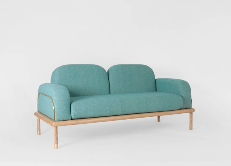 Prado/Sofa in Parota Wood and Details in Cooper or Brass For Sale 3