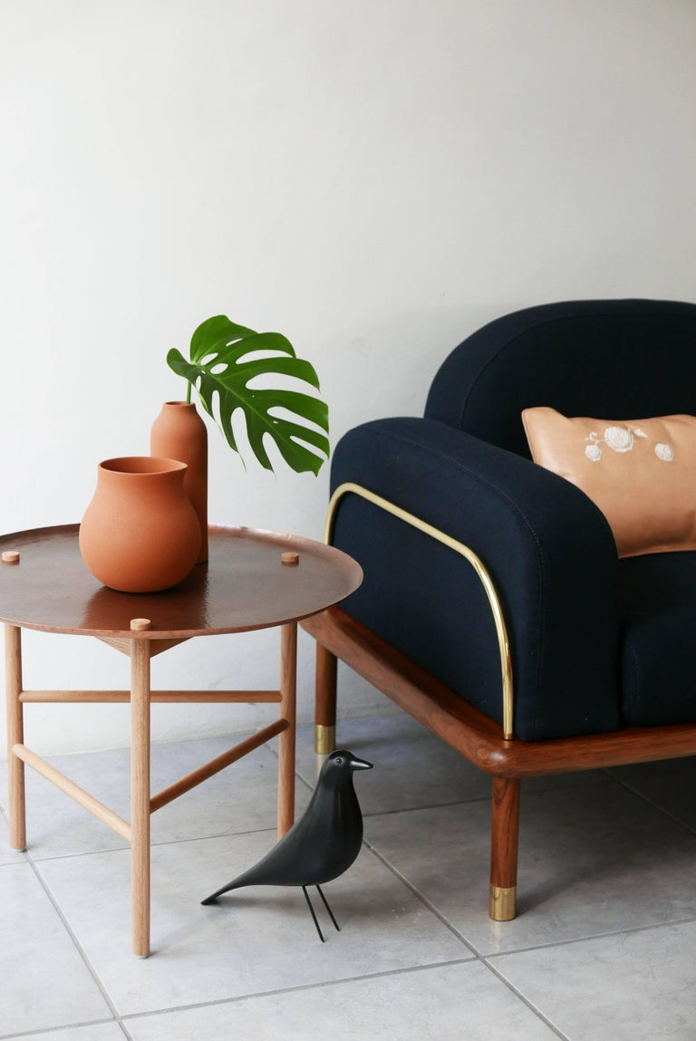 Mexican Prado/Sofa in Parota Wood and Details in Cooper or Brass For Sale