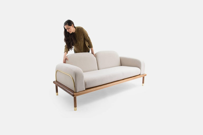 Prado/Sofa in Parota Wood and Details in Cooper or Brass In New Condition For Sale In Zapopan, MX
