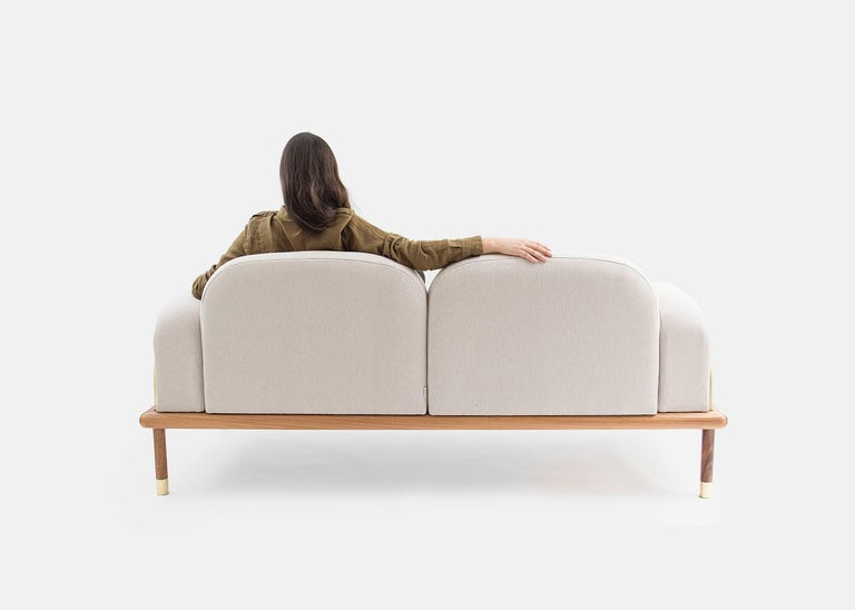 Contemporary Prado/Sofa in Parota Wood and Details in Cooper or Brass For Sale