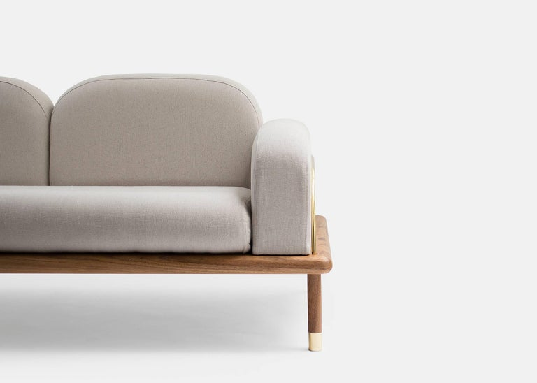 Prado/Sofa in Parota Wood and Details in Cooper or Brass For Sale 1
