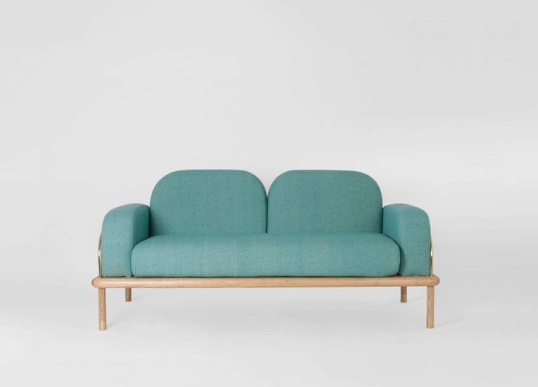 Prado/Sofa in Parota Wood and Details in Cooper or Brass For Sale 2