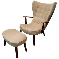 Pragh Armchair and Footstool by Ib Madsen & Acton Schubell, Denmark, circa 1950s