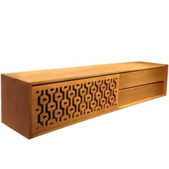 Praia Brazilian Contemporary Graphic Pattern Cut Wood TV Stand by Lattoog