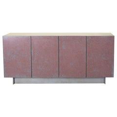 Prairie Credenza or Cabinet in Cast Resin, Aluminium, and Brush Painted Maple