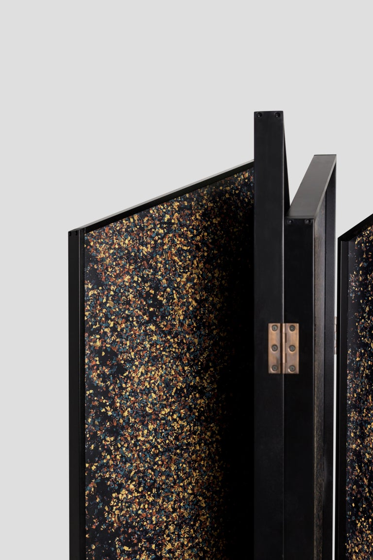 The Prairie Divider Screens are a modern interpretation of art glass designs presented in a thin profile screen.  They are meant to be a statement piece, designed to diffuse light and define interior spaces. They are offered in panels of four