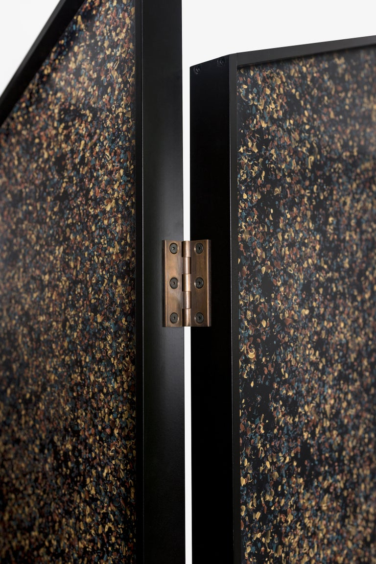 Prairie School Prairie Divider Screens in Lacquered Aluminum, Composite Panels, Brass Hardware For Sale