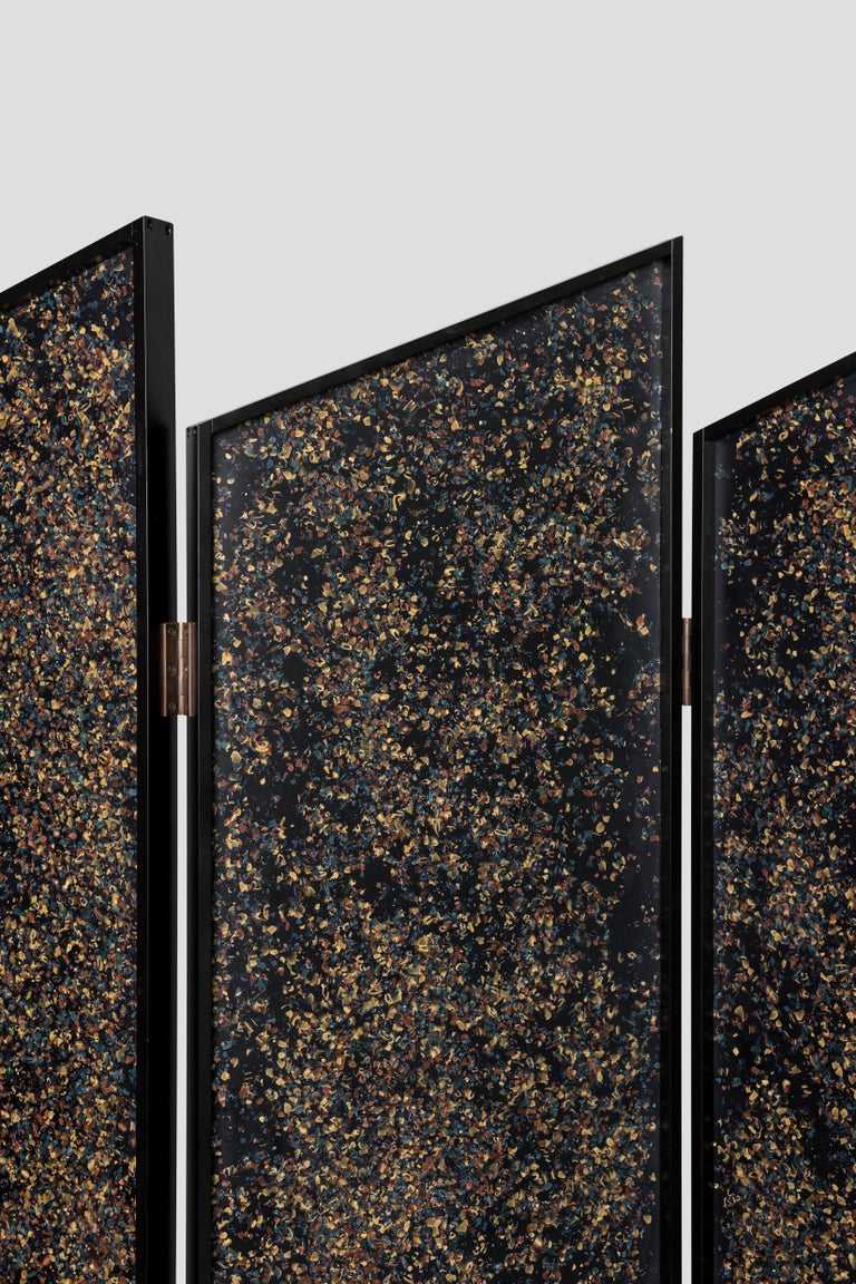 Blackened Prairie Divider Screens in Lacquered Aluminum, Composite Panels, Brass Hardware For Sale