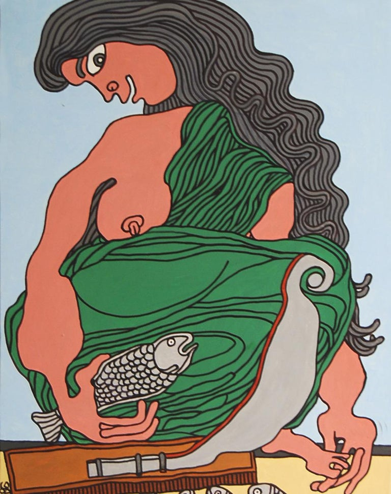 Fish Seller, Acrylic on Canvas, Green, Brown by Modern Indian Artist