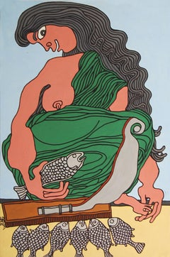 "Fish Seller, Acrylic on Canvas, Green, Brown by Modern Indian Artist ""In Stock"""