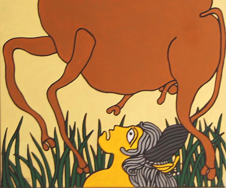 Lady on the Horse, Nude, Acrylic Canvas, Brown, Red by Indian Artist