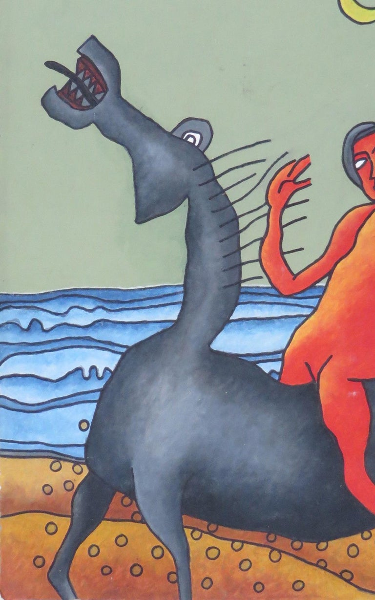 Lady on the Horse, Nude, SeaBeach, Mixed Media, Brown, Red, Blue, Grey
