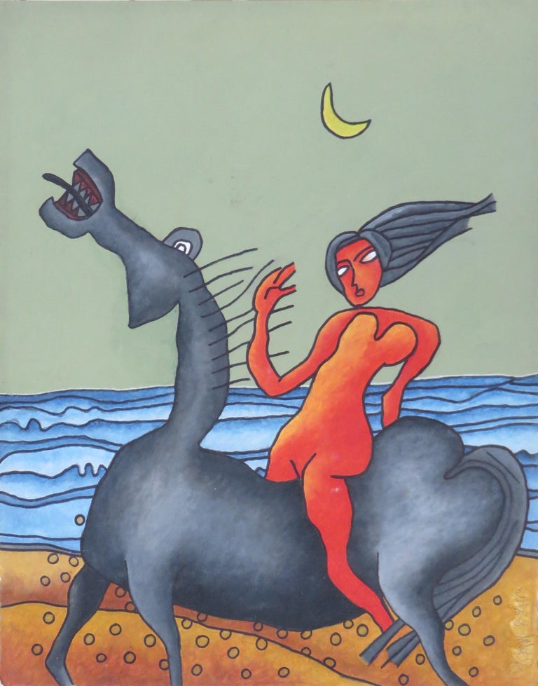 "Prakash Karmarkar Figurative Painting - Lady on the Horse, Nude, SeaBeach, Mixed Media, Brown, Red, Blue, Grey""In Stock"""