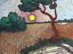 "Landscape, Painting, Mixed Media on canvas, Green, Brown, Yellow, Red ""In Stock"""