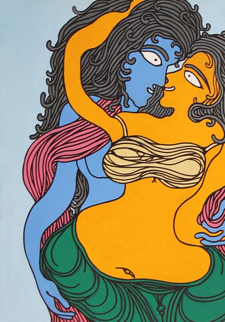 Radha-Kishen, Mythology, Acrylic, Green, Blue, Red by Top Artist