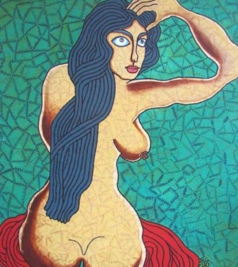 Seated Woman, Acrylic on Canvas, Green & Red by famous Indian Artist