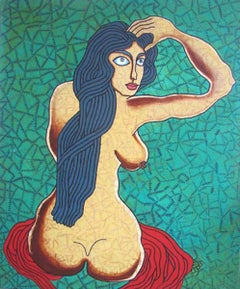 "Seated Woman, Acrylic on Canvas, Green & Red by famous Indian Artist ""In Stock"""