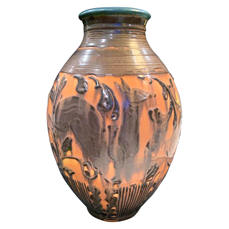 """Prancing Deer"", Large, High Style Art Deco Vase by Hentschel for Rookwood"