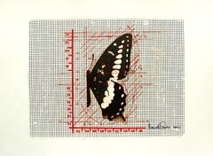 """Butterfly in Black & Red color, Mixed Media on Graph paper """"In Stock"""""""