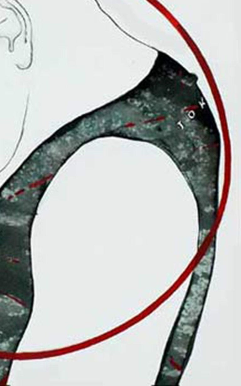 Artist : Prasanta Sahu ( Indian established Mid Career Artist )  Title : Under the Scanner  Size  - 15 x 11 inches (unframed size)  Framed Size : 25 x 22 inches  Acrylic & Watercolour on Paper    Prasanta's inventiveness in his works lies as much in