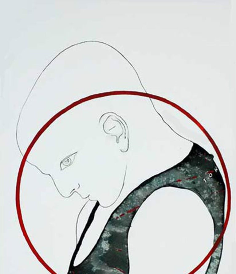 Man, Acrylic Watercolor on paper, Red, Grey, Green  by Indian Artist