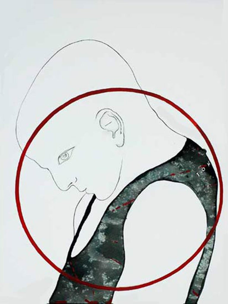 """Prasanta Sahu Figurative Painting - Man, Acrylic Watercolor on paper, Red, Grey, Green  by Indian Artist """"In Stock"""""""
