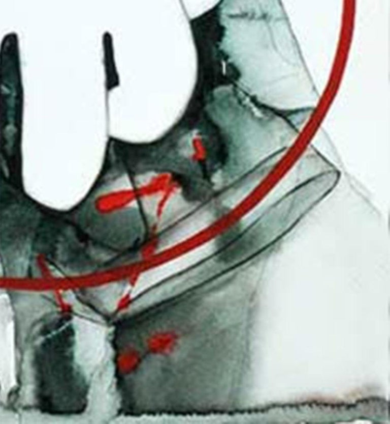 Under the Scanner, Watercolor, Red, Grey, Green by Indian Artist