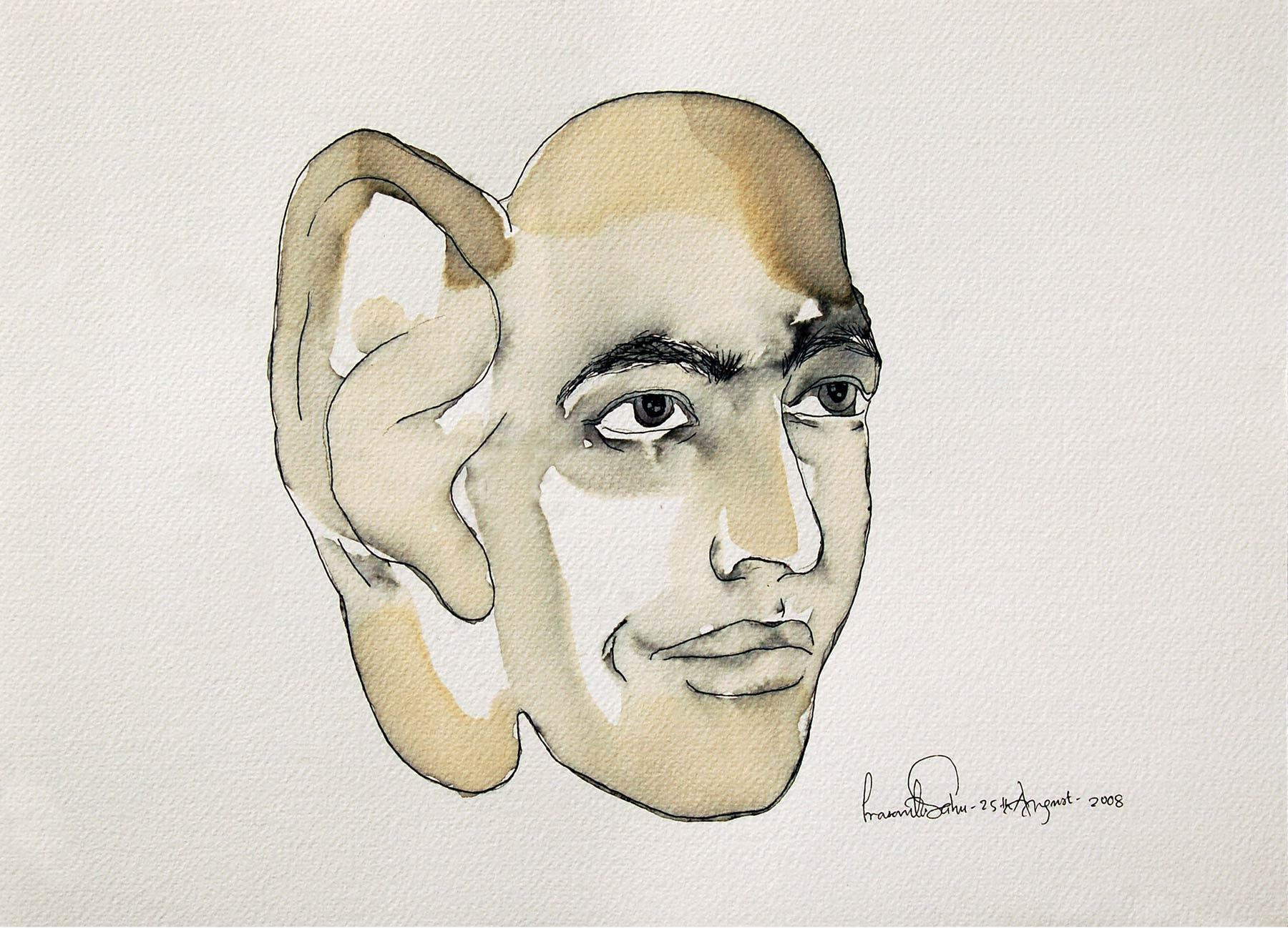 Man with big Ear, Figurative, Ink and Tea Wash on paper by Contemporary Artist