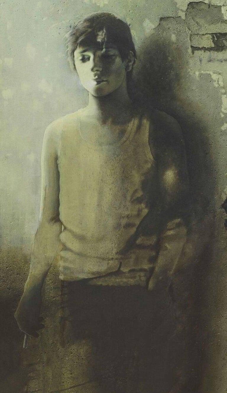 Unknown Destiny, Adolescent Boy in Green-Brown colored Canvas , Contemporary Art - Painting by Prasenjit Sengupta
