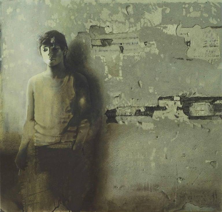 Prasenjit Sengupta Interior Painting - Unknown Destiny, Adolescent Boy in Green-Brown colored Canvas , Contemporary Art