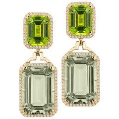 Goshwara Emerald Cut Prasiolite & Peridot With Diamond Earrings