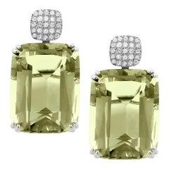 Goshwara Cushion Prasiolite With Cushion Diamond Motif Earrings