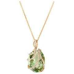 Prasiolite Diamond and Rose Gold Pendant