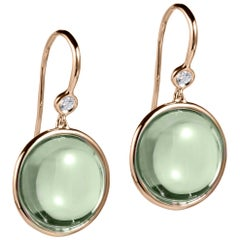 Prasiolite and Diamond Disc Earrings on Wire