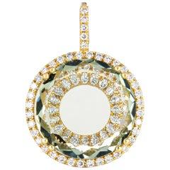 Prasiolite Diamond Halo Pendant 18 Karat Gold Round Enhancer Estate Jewelry
