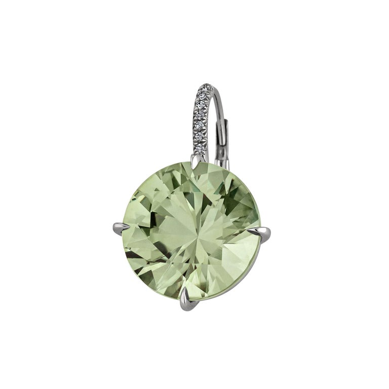 Round Cut Prasiolite Diamond Platinum Earrings For Sale