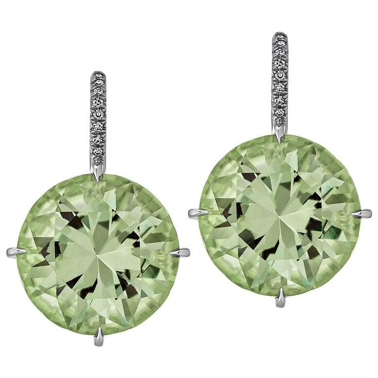 Prasiolite Diamond Platinum Earrings For Sale